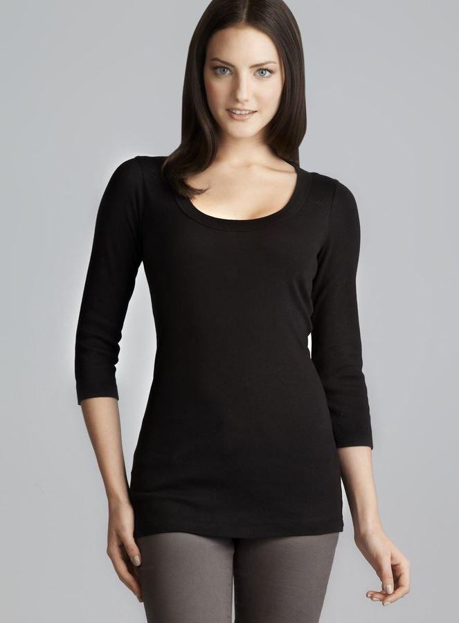 XCVI Black Scoop Neck 3/4 Sleeve Top