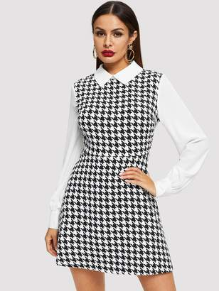 Shein Contrast Collar and Sleeve Houndstooth Tweed Dress