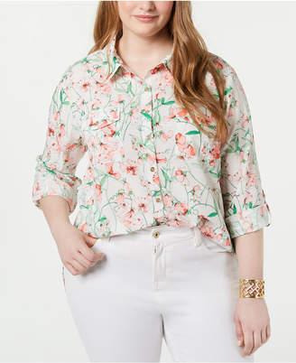 a7268877f Tommy Hilfiger Plus Size Floral-Print Roll-Tab-Sleeve Shirt
