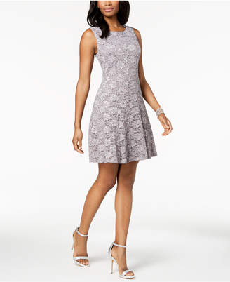 Connected Sequined Lace Fit & Flare Dress