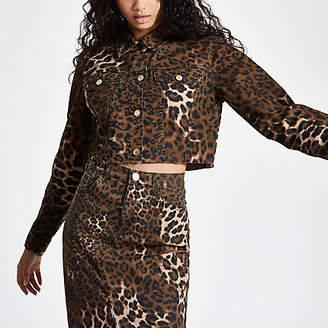 River Island Brown leopard print cropped denim jacket