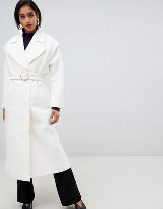 Asos DESIGN Belted 80's Coat With Batwing Sleeve