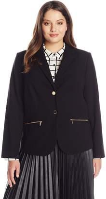Calvin Klein Women's Plus-Size 2 Button Jacket with Pocket Zips