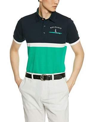 Munsingwear (マンシングウェア) - [マンシングウェア] 半袖シャツ(ニット) MGMNJA04X NVGR(ネイビー×グリーン) 日本 M (日本サイズM相当)