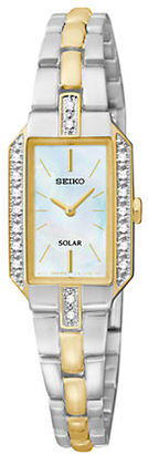 Seiko Ladies Two-Tone Stainless Steel Watch with Diamond Bezel $395 thestylecure.com
