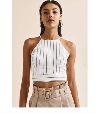 d78380449ded4c at Dynamite · Dynamite Halter Crop Top OFF WHITE BLACK STRIPES