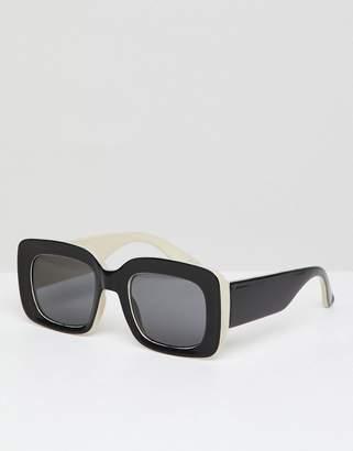 Asos DESIGN Square Sunglasses In Black & White With Smoke Lens