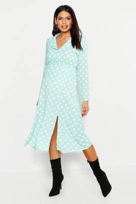 boohoo Maternity Polka Dot Split Front Midi Shirt Dress