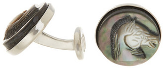 David Donahue Sterling Silver Black Mother Of Pearl Horse Cuff Links $195 thestylecure.com