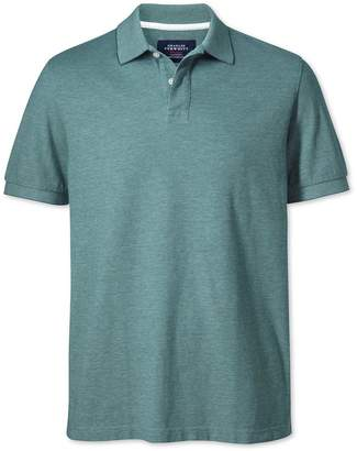 Charles Tyrwhitt Forest Green Oxford Cotton Polo Size XS
