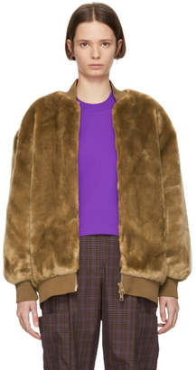 Tibi Brown Faux-Fur Luxe Track Jacket