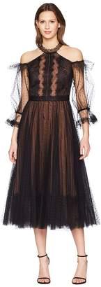 Marchesa Cold Shoulder Point-D'Esprit Tea Length Cocktail Women's Dress