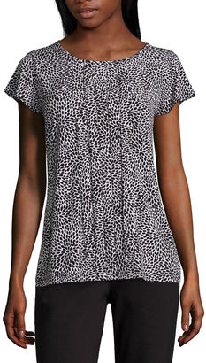 LIZ CLAIBORNE Liz Claiborne Short Sleeve Crew Neck Knit Blouse $36 thestylecure.com