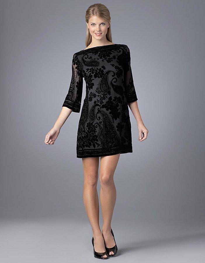 Morgan Mcfeeters Black Velvet Burnout Sheath Dress