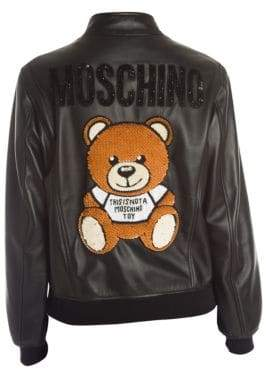 Moschino Embellished Logo Back Leather Bomber