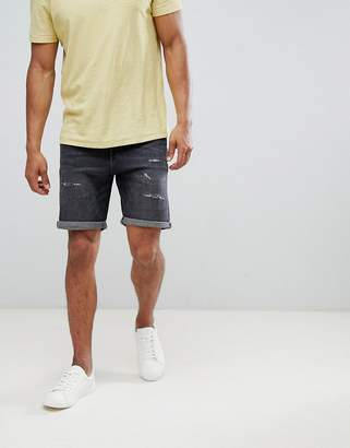 Selected Denim Shorts With Distress Detail