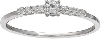 Women's Primrose Sterling Silver Pave Cubic Zirconia with Center Stone Ring