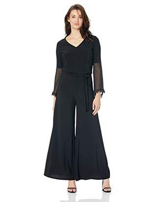 MSK Women's Bell Sleeve Jumpsuit with lace Cuff Trim