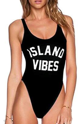 659b163cb1 at Amazon Canada · MNLYBABY Womens Sexy One-Piece Swimsuit Letter Printed  High Cut Legs Backless Monokini Size S