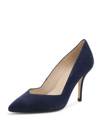 Andre Assous Steph Suede Pointed-Toe Pump, Blue $119 thestylecure.com