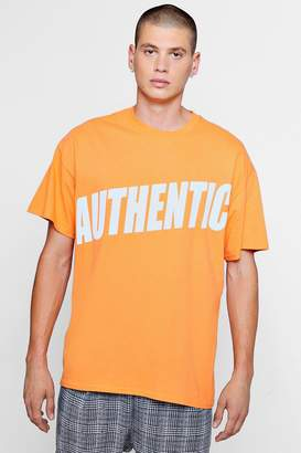 boohoo Oversized Authentic Print Tee