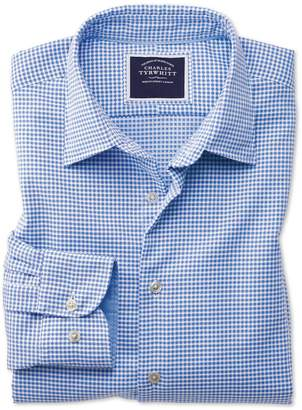 Charles Tyrwhitt Slim Fit Washed Blue Textured Check Cotton Casual Shirt Single Cuff Size XS