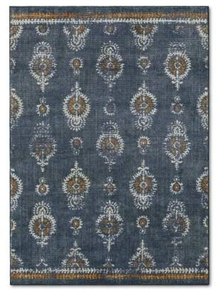 Threshold Journey Block Print Floral Rug Navy