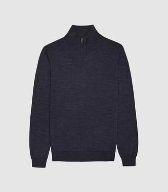 Reiss Blackhall - Merino Wool Zip Neck Jumper in Airforce Blue Melange