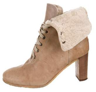 Chloé Leather Shearling Ankle Boots