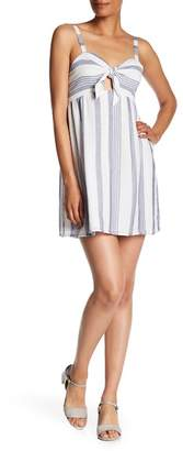 Socialite Bow Front Sweetheart Neck Striped Dress