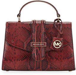 MICHAEL Michael Kors Bleecker Small Python-Print Satchel Bag