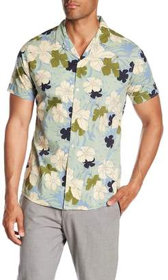 Slate & Stone Modern Fit Tropical Floral Print Button Short Sleeve Shirt