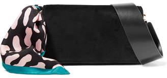 Diane von Furstenberg Soiree Embellished Velvet And Leather Shoulder Bag - Black