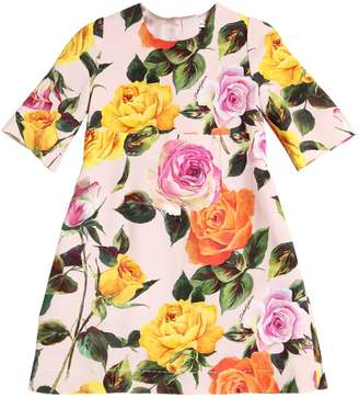 Dolce & Gabbana Roses Print Crepe Cady Dress