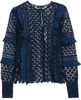 Self-Portrait Ruffled Crepe-trimmed Guipure Lace Top - Midnight blue
