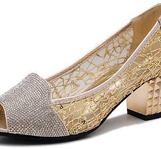 MEIREN Women's Shoes Synthetic Low Heel Heels/Comfort Sandals Office & Career/Party & Evening/Dress/Casual Black//Gold , - ,