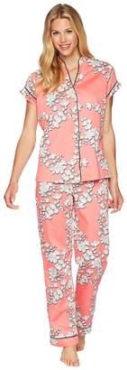 BedHead Coral Blossoms Short Sleeve Cropped Pajamas Women's Pajama Sets