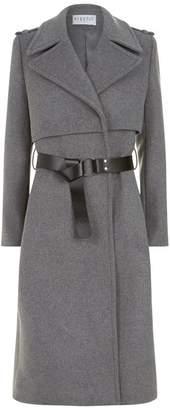 Claudie Pierlot Longline Belted Wool Coat