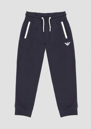 Emporio Armani Jersey Fleece Jogging Trousers With Logo Print