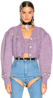 Alessandra Rich Floral Applique Cropped Wool Cardigan in Lilac | FWRD