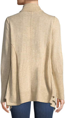Neiman Marcus Double Layer Open-Front Wool-Blend Cardigan