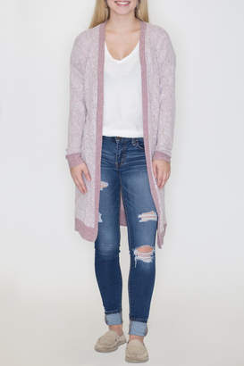 Cherish Contrast Open Cardigan