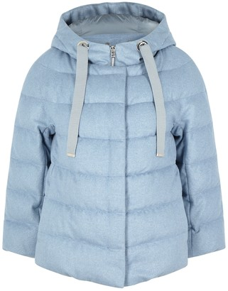 Herno Blue Quilted Cashmere-blend Jacket
