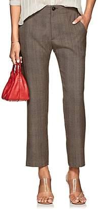 Pas De Calais Women's Checked Wool Hopsack Trousers - Brown