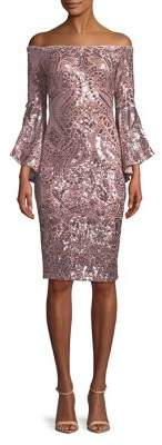 Betsy & Adam Sequin Bell-Sleeve Knee-Length Dress