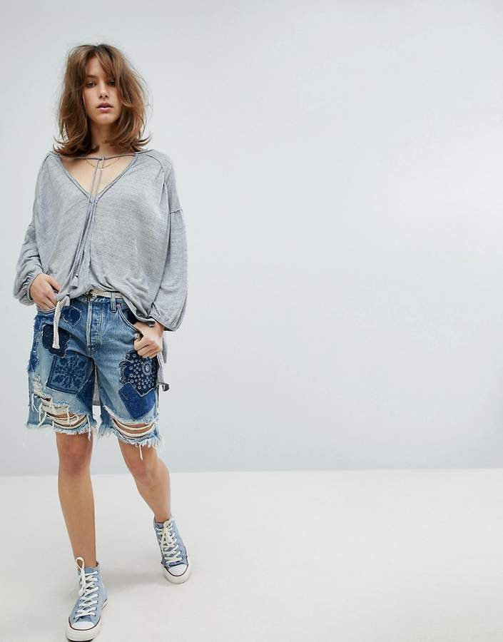 Free People Heart Breaker Patched And Embroidered Shorts