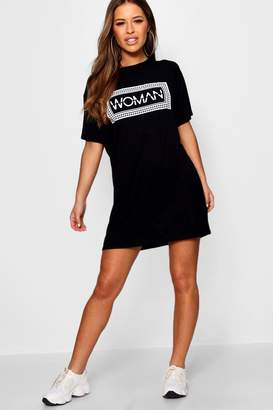 boohoo Petite Woman Box Slogan T-Shirt Dress