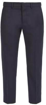 Ami Straight Leg Wool Blend Trousers - Mens - Navy