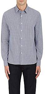 Barneys New York MEN'S GINGHAM COTTON DOBBY DRESS SHIRT - NAVY SIZE S