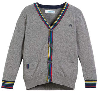 Mayoral Cardigan Sweater w/ Stripe Trim, Size 3-7